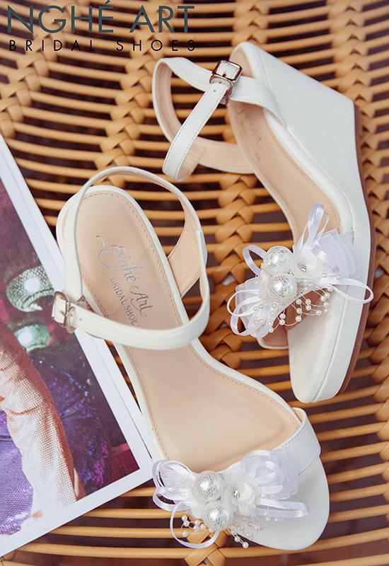 Giày cưới Nghé Art xuồng đính nơ trắng 329 - Ảnh 8 -  Nghé Art Bridal Shoes – 0908590288