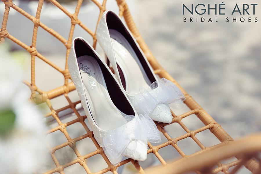 Giày cưới Nghé Art ren kim tuyến đính nơ 331 - Ảnh 2 -  Nghé Art Bridal Shoes – 0908590288