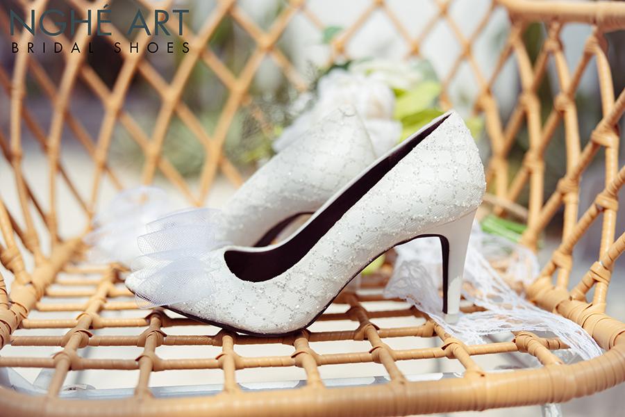 Giày cưới Nghé Art ren kim tuyến đính nơ 331 - Ảnh 3 -  Nghé Art Bridal Shoes – 0908590288