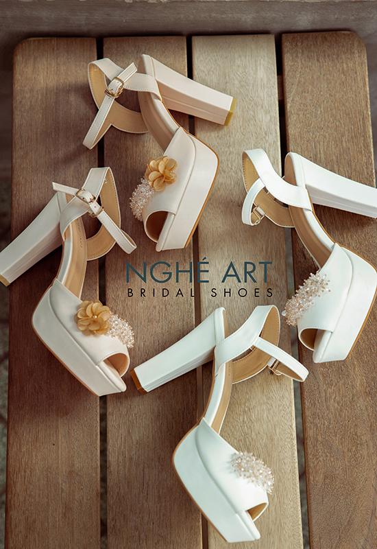 Giày cưới Nghé Art cao gót đính hoa pha lê 341 trắng và nude - Ảnh 3 - Nghé Art Bridal Shoes – 0908590288