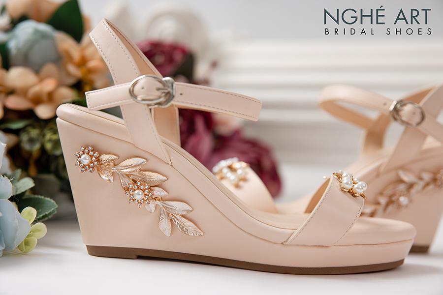 Giày cưới Nghé Art đế xuồng đính hoạ tiết 353 - Ảnh 2 -  Nghé Art Bridal Shoes – 0908590288