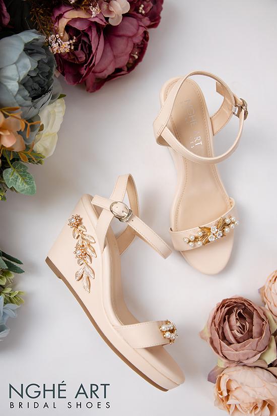 Giày cưới Nghé Art đế xuồng đính hoạ tiết 353 - Ảnh 4 -  Nghé Art Bridal Shoes – 0908590288