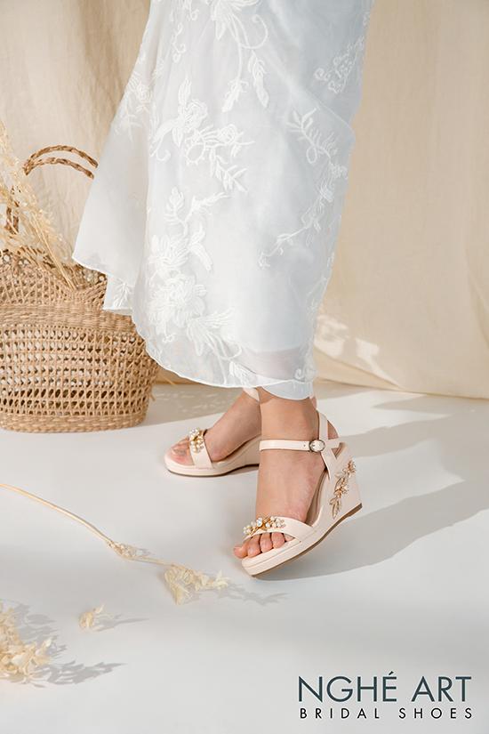 Giày cưới Nghé Art đế xuồng đính hoạ tiết 353 - Ảnh 6 -  Nghé Art Bridal Shoes – 0908590288