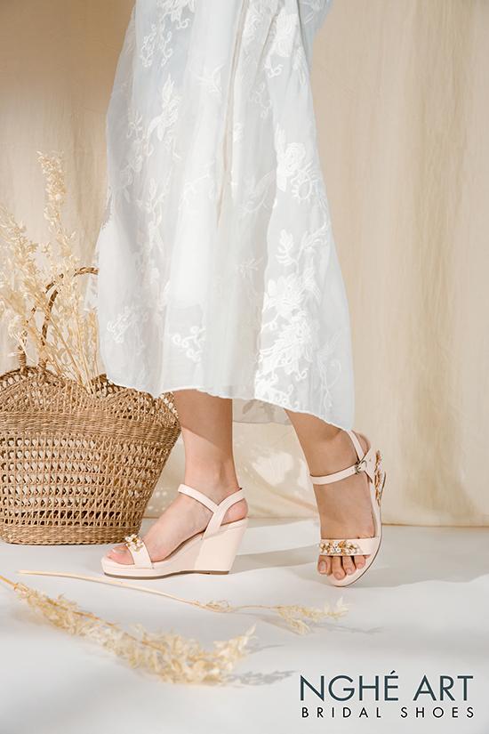 Giày cưới Nghé Art đế xuồng đính hoạ tiết 353 - Ảnh 7 -  Nghé Art Bridal Shoes – 0908590288