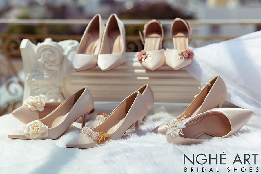 Bộ sưu tập giày cưới lụa satin nude 2021 - Ảnh 1 -  Nghé Art Bridal Shoes – 0908590288