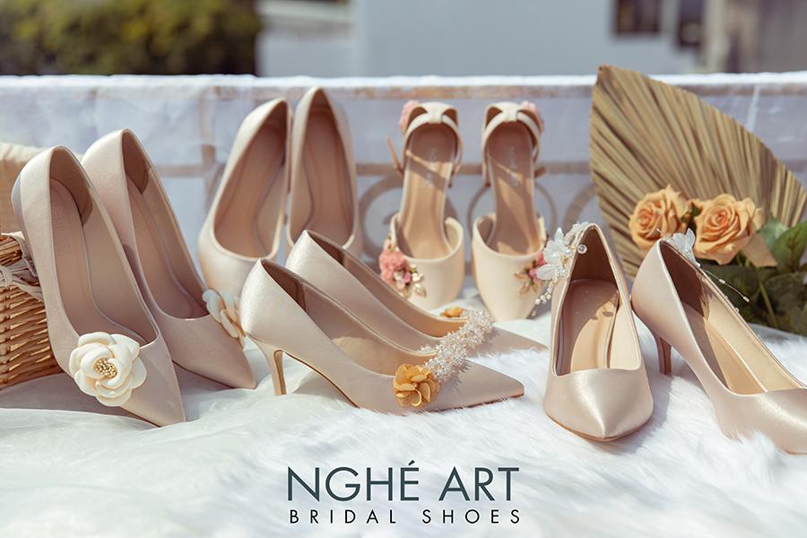 Bộ sưu tập giày cưới lụa satin nude 2021 - Ảnh 2 -  Nghé Art Bridal Shoes – 0908590288