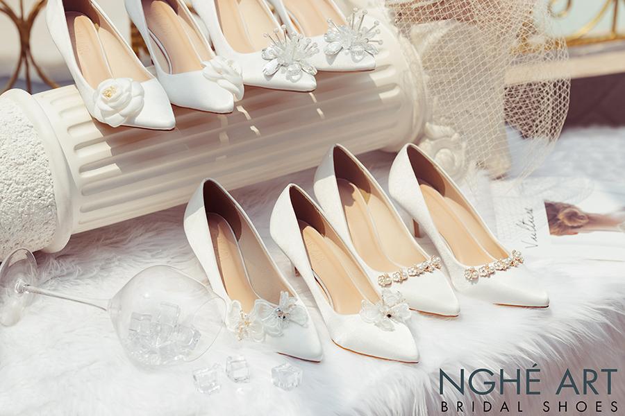 Bộ sưu tập giày cưới lụa satin trắng 2021 - Ảnh 2 -  Nghé Art Bridal Shoes – 0908590288