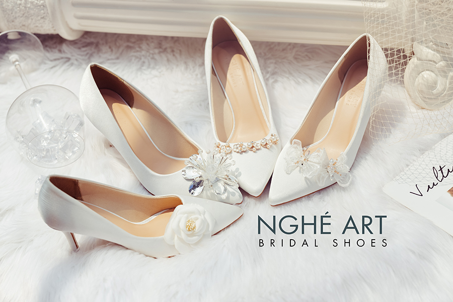 Bộ sưu tập giày cưới lụa satin trắng 2021 - Ảnh 3 -  Nghé Art Bridal Shoes – 0908590288
