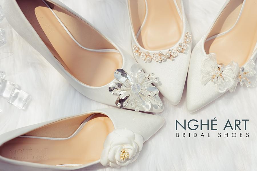 Bộ sưu tập giày cưới lụa satin trắng 2021 - Ảnh 4 -  Nghé Art Bridal Shoes – 0908590288