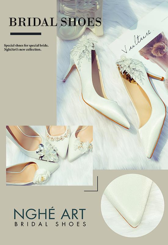 Bộ sưu tập giày cưới lụa satin trắng 2021 - Ảnh 6 -  Nghé Art Bridal Shoes – 0908590288