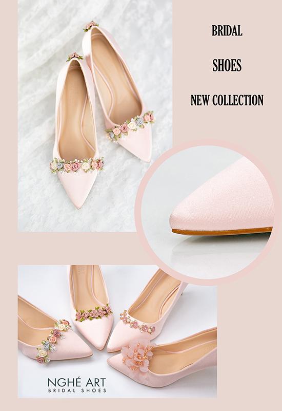 Giày cưới Nghé Art satin hồng nhánh kim loại 313 - Ảnh cover - Nghé Art Bridal Shoes – 0908590288