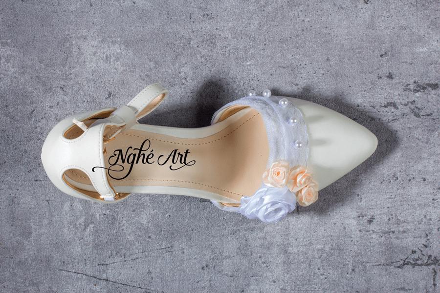 Giày cưới gót vuông hoa 153 - Ảnh 4 -  Nghé Art Bridal Shoes – 0908590288