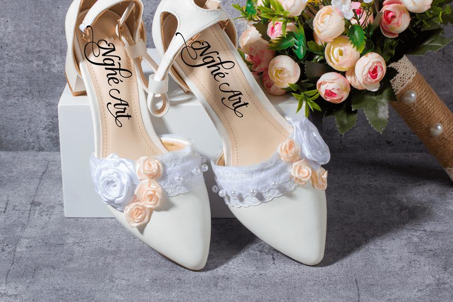 Giày cưới gót vuông hoa 153 - Ảnh 5 -  Nghé Art Bridal Shoes – 0908590288