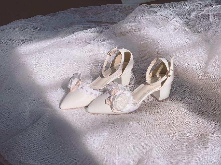 Giày cưới gót vuông hoa 153- Ảnh 8- Nghé Art Bridal Shoes – 0908590288
